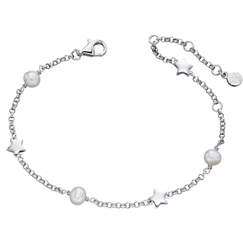 silver bracelet with stars and pearls
