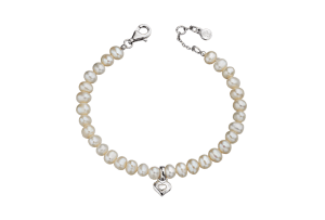 silver bracelet with pearls and heart charm
