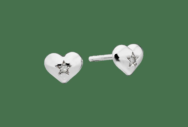 silver heart earrings with diamonds
