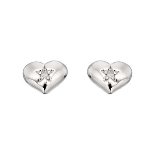 silver heart earrings with diamonds
