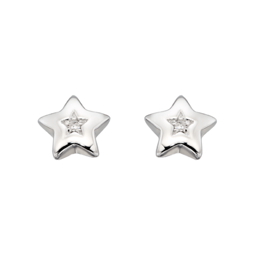 silver star earrings with diamond