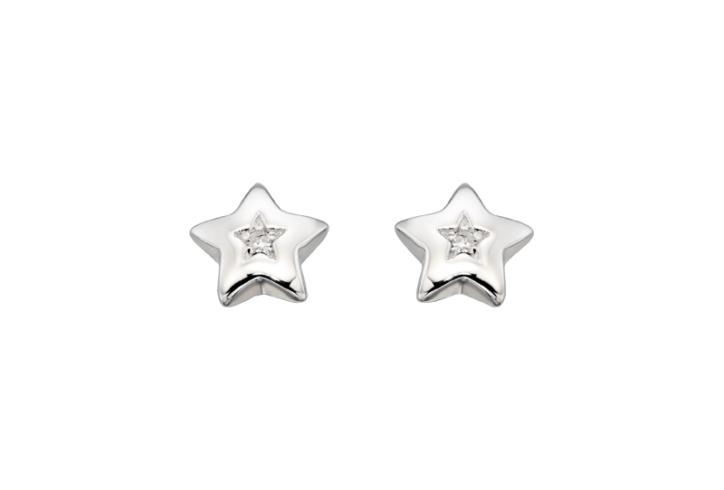 silver star earrings with diamond