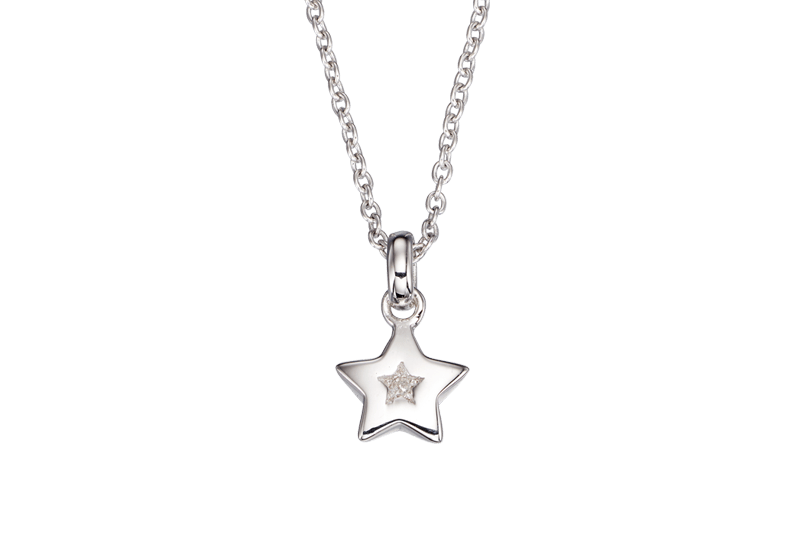 silver star necklace with diamond