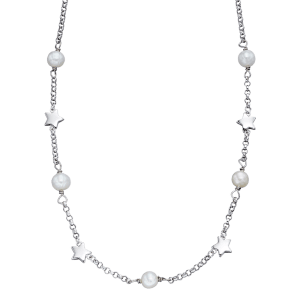 silver necklace with stars and pearls