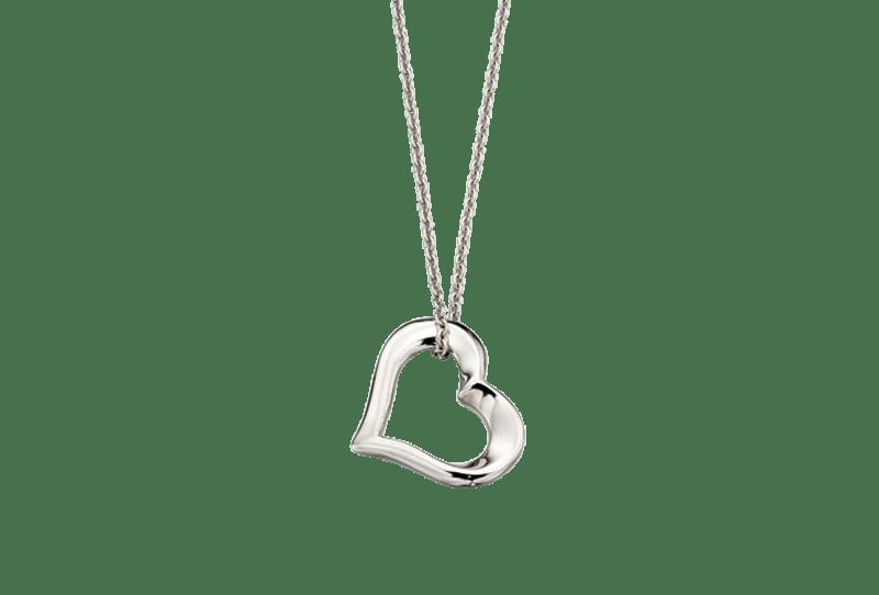 open heart silver necklace