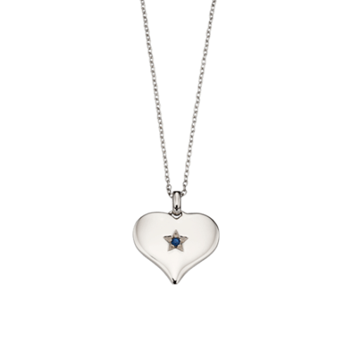 silver heart necklace with sapphire