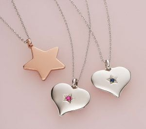 silver heart necklace and star necklace