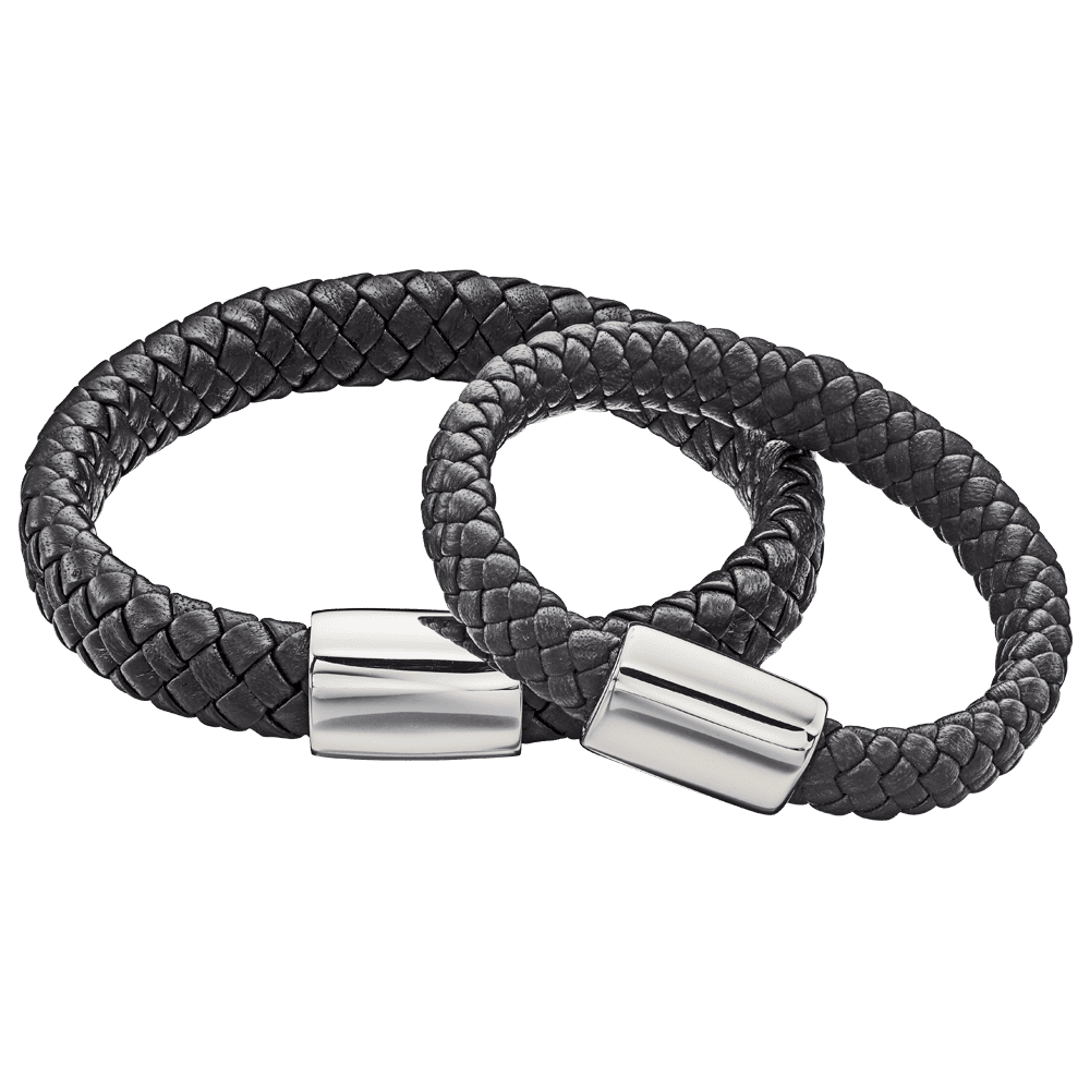 two leather and silver bracelets