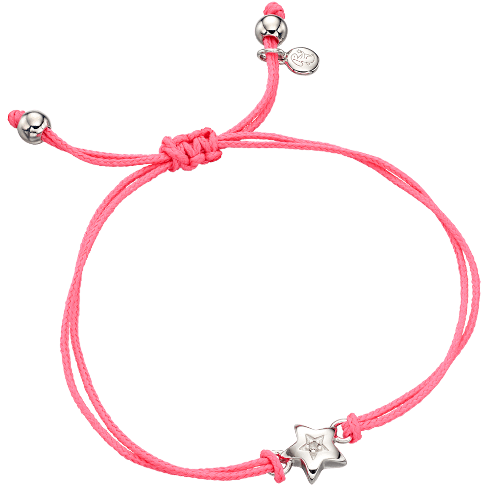 pink bracelet with silver star