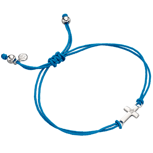 blue bracelet with silver cross