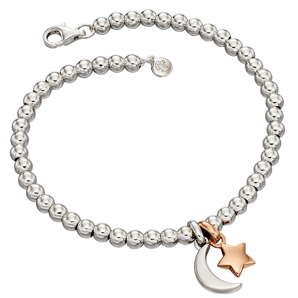 silver bracelets with star and moon