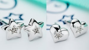 silver star and heart with diamonds
