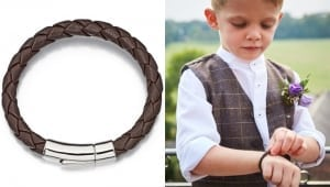 leather bracelet on young boy