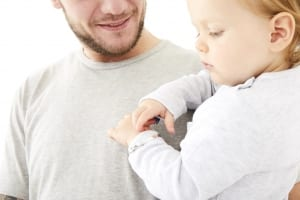 dad with baby with bangle