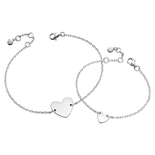 silver heart bracelets
